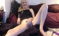 Mature blonde toying