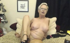 Blonde MOM With Glasses Masturbating