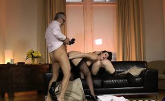 Hottie getting completely obliterated by a older stud