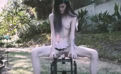 Petite Teen Rides Dildo Chair Outside
