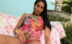 Seductive shemale analyzed by horny dude in the garden