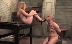 Blonde with a strapon fucked her guy