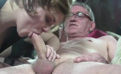 Euro hooker sucks oldmans cock before riding
