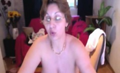 Huge naturals granny Milena on home webcam