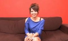 Rukia Mochizuki in mauve dress gets cumshot