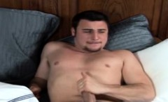 Raunchy homosexual Tony spanks his meaty rocket and cums