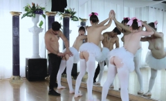 Instructor fuck the Ballerinas on top of his cock