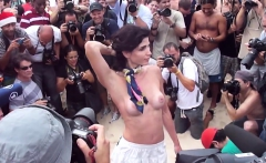 Big boobs amateur Czech girl banged in public for money