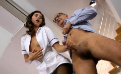British nurse rides and cocksucks old man