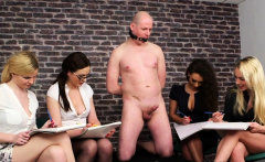 Euro cfnm babes giving handjob to gagging guy