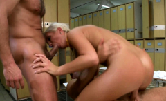 Blonde chick enjoys double penetration at locker rooms