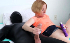 Tiny blonde babe jerks latex mans big cock