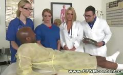 Dude with injured knee gets check up by female doctors