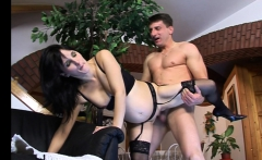 Pregnant brunette in lingerie gets anally pounded