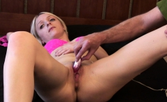 Blonde Masturbated By Old Cameraman To Strong Orgasm