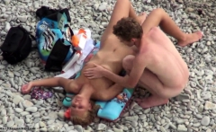 European Slut Rides On Beach