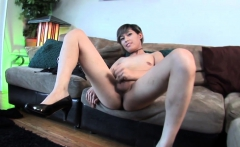 Asian casting ts stroking cock on couch
