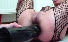 XXL double dildo fucking her wrecked holes