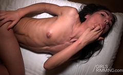 Rough rimjob casting with Brunette beauty