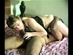 Nasty Interracial Domina Sees Cuckold Lick Cum