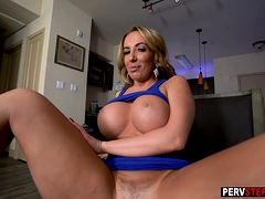 Busty Lonely Milf Stepmom Pleased With His Long Fingers