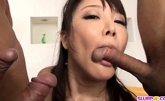 Double pleasure for the busty Asian - More at Slurpjp.com