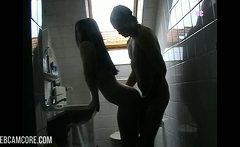 Young Couple Makes Porn Video In The Bathroom