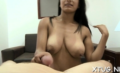 Hot-tempered latina woman Allyson blows and rides shaft