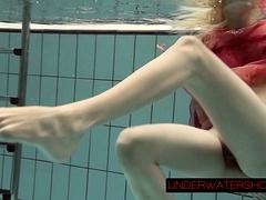 Katya Okuneva In Red Dress Erotic Water Show