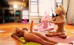 Yoga class animation with two hot futanari babes