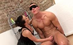 Smalltits femdom pegging her blindfolded sub