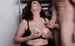 Andi on her knees and take Jmac's load