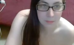 Hot girl with glasses masturbating