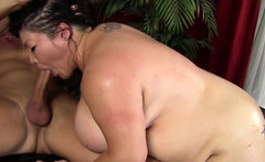 Busty brunette slut enjoys extreme amateur pov blowjob