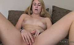 Blonde fingers ass while gets pussy fuck